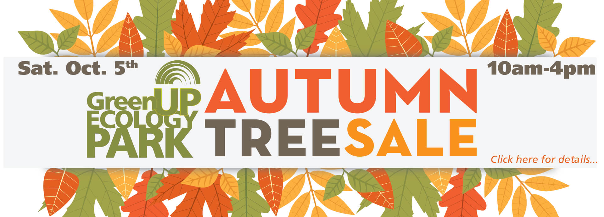"""GreenUP Ecology Park Logo beside text that reads """"Autumn Tree Sale Sat. Oct. 5th 10am-4pm"""" surrounded by decorative fall coloured leaves."""