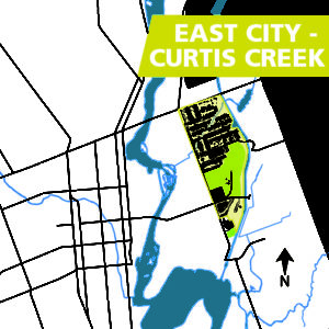 Map of the East City - Curtis Creek area of Peterborough