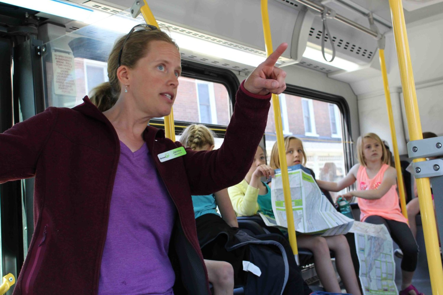 GreenUP's Jaime Akiyama introduces a class of Grade 3 students to public transit through the On the Bus program, one of the many programs offered through Active School Travel PTBO.