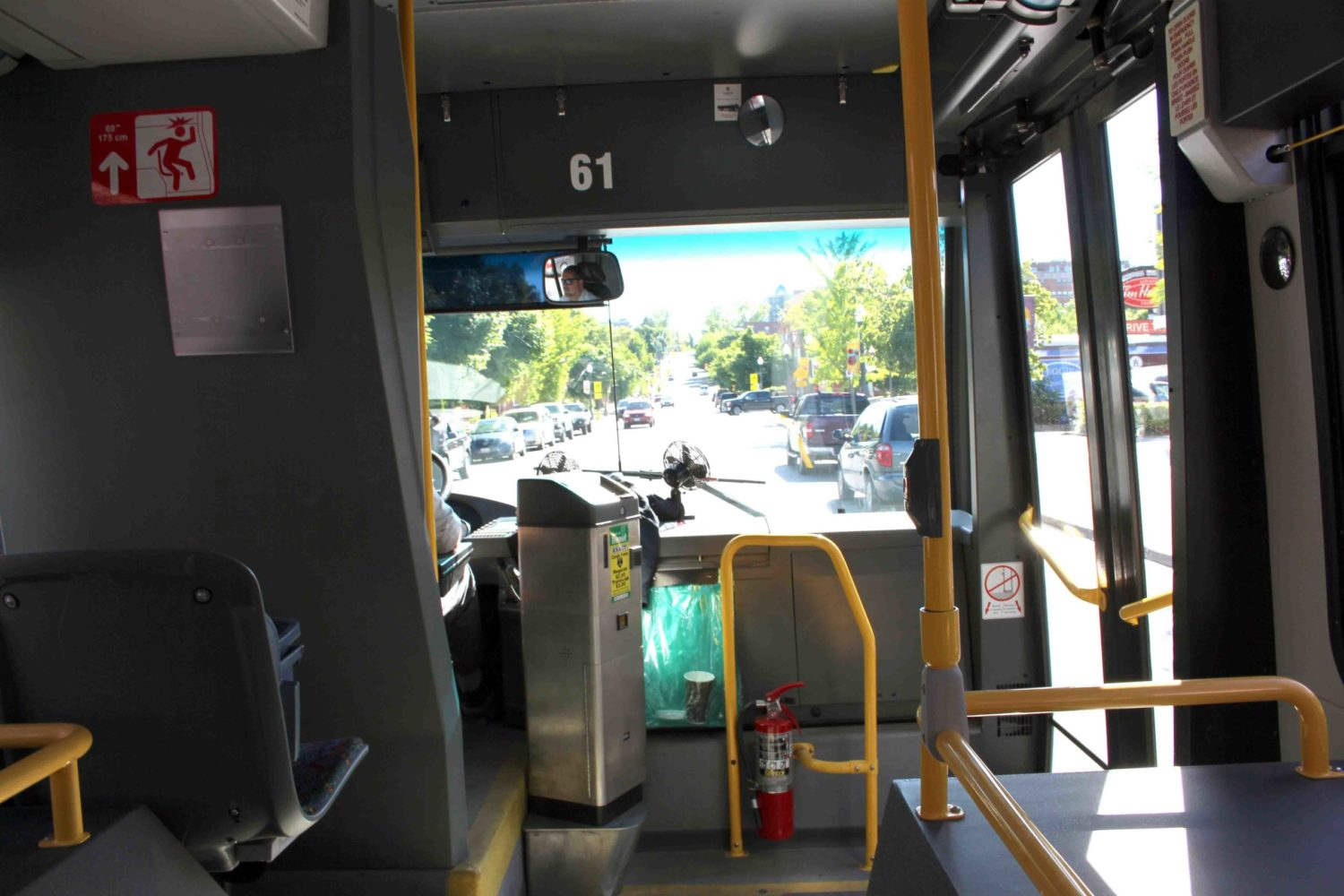 The environmental benefits of pubic transit include reduced air pollution and traffic congestion from fewer vehicles on the road.